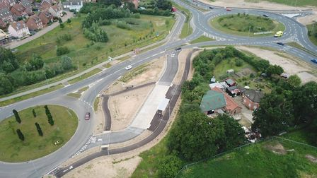 An aerial view of the new bus interchange at Round House Way in Cringleford. Pic: Transport For Norw