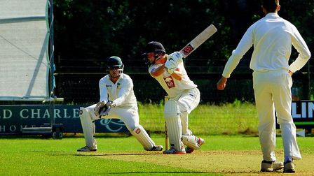 Great Witchingham opener Jack Boyle on his way to 61 in the game against Burwell Picture: Tim Ferley