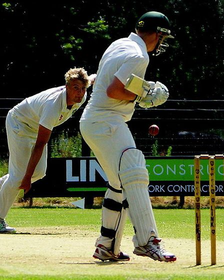 Great Witchingham's William Mears in action against Burwell Picture: Tim Ferley