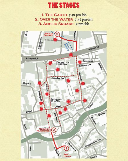 The performance locations for Anglia Square: A Love Story. Picture: Submitted