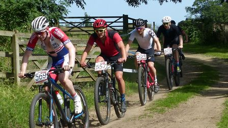 Mulbarton rider Will Dorsett is second in line here in Thickthorn Park Picture: Fergus Muir