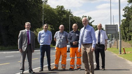 A £4.6m scheme in Dereham Road has been completed. Pictured are: (front) Martin Wilby, Norfolk Count