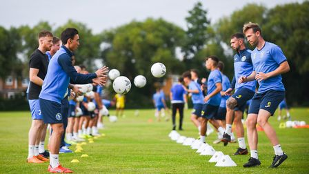 Michael Clunan, left, and Ryan Jarvis paired up at King's Lynn Town's first pre-season training sess