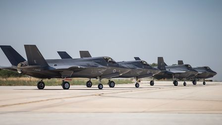 Royal Air Force F-35B Lightning aircraft from 617 Sqn take off from Italian AF base Amendola near Fo
