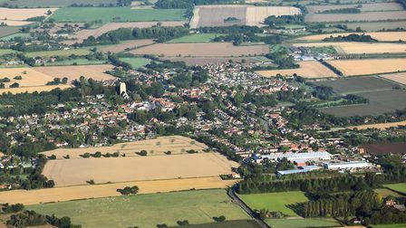 An aerial view of the fields around Old Buckenham Airfield, opposite the proposed site for a new wea