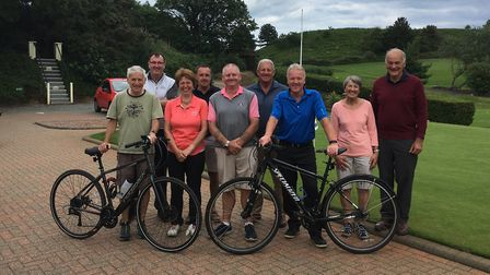 100-mile charity cycle ride. Will Howett in the blue top and Paul Ericksen in black on the back row.