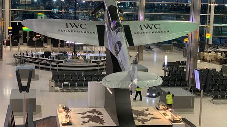 The silver spitfire replica in position at Terminal 2, Heathrow airport. Pic: submitted