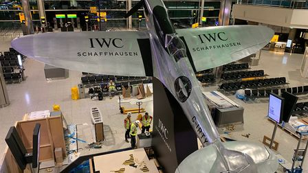 The silver spitfire in position at Terminal 2, Heathrow airport. Pic: submitted