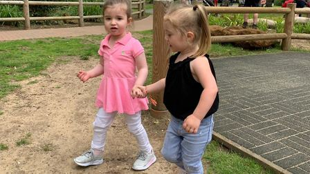 Darcie, pictured left and cousin Aria. They are both two years old but Darcie was classed an 'adult'