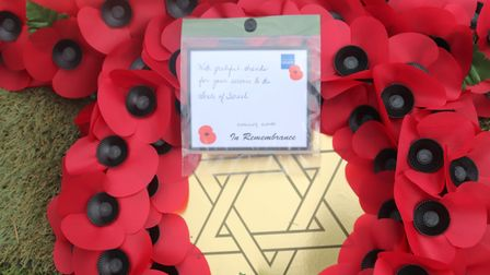 Tribute to Norfolk soldier Tom Bowden on wreath laid by Israeli ambassador at Diss Cemetery. Picture