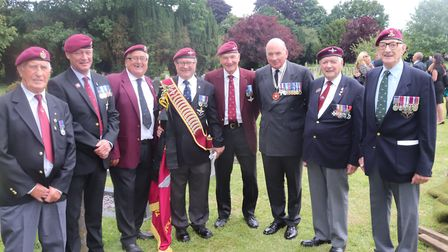 Lord Dannatt (third right) with British military veterans at funeral of Norfolk soldier Tom Bowden a