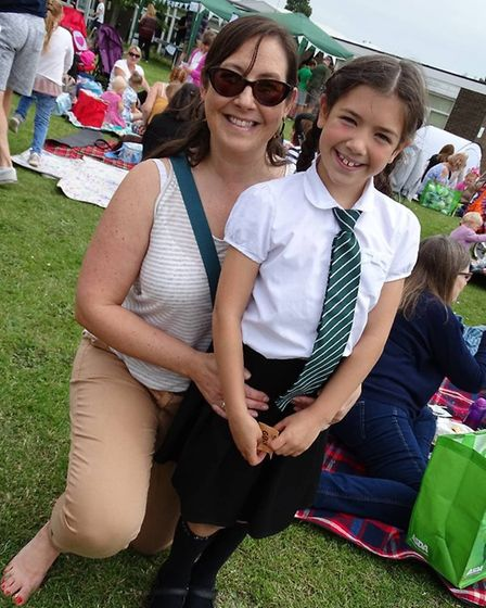 Lucy and Lily Moore enjoyed the celebratory event at Elm Tree Primary School in Lowestoft. Picture: