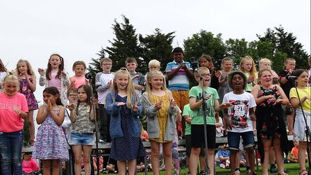 """Year 4 and their rendition of """"Hand Jive"""" at the celebratory event at Elm Tree Primary School in Low"""