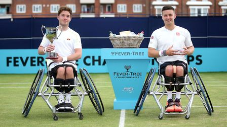 Alfie Hewett, left, and runner-up Gordon Reid after the singles final at Queen's Club Picture: Alex