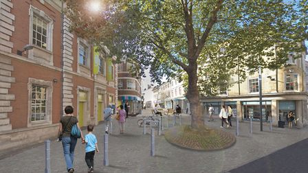 How Bank Plain could look after the proposed revamp. Pic: Transport For Norwich.