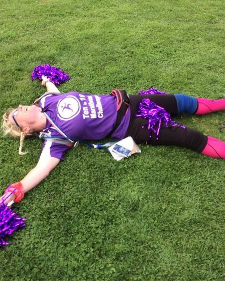 Melanie Sturman celebrates completing the 10 in 10 challenge at Great Barrow. Picture: Melanie Sturm
