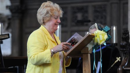 Beryl Blower at the celebration of life service for Roy Blower at St.Peter Mancroft, Norwich. Pictur