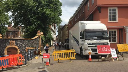 Road closures around Elm Hill whilst filming for a new Netflix Christmas film takes place.Byline: So