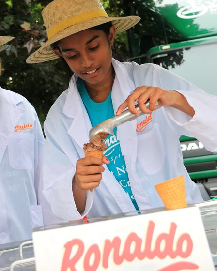 Students from Norwich High School for Girls compete in an ice cream challenge against Norwich School