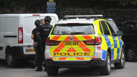 Armed police making an arrest at the car park close to the Jarrold Bridge, Norwich. Picture: Jamie H