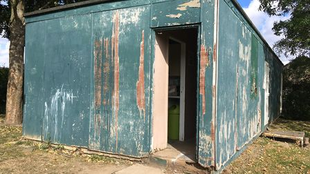The hut at Toftwood Recreation Ground that Dereham Saints use, which is in the middle of being repai