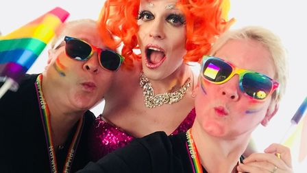 Organisers Stevie and Shell with drag queen and host of the Chapelfield Gardens Pride Party main sta