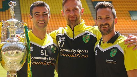Former Canaries Simon Lappin, Ryan Jarvis and Adam Drury (L-R) take part in charity sky dive. Pictur