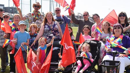 Unite the Union flags are waved at the Great Yarmouth and Waveney Pride parade. Picture: DENISE BRAD