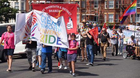 The Great Yarmouth and Waveney Pride parade. Picture: DENISE BRADLEY