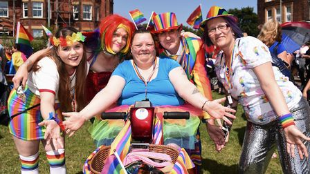 Colour everywhere as people get ready for the Great Yarmouth and Waveney Pride parade. Picture: DENI
