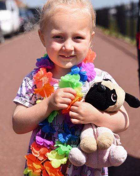Three-year-old Annabelle Spicer joining in with the Great Yarmouth and Waveney Pride parade. Picture