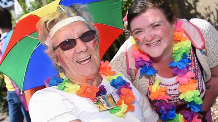 Ellen Rich aWith her granddaughter, Lauren Watson at the Great Yarmouth and Waveney Pride parade. Pi