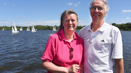 Yeoman fleet captains, Diana and Will Webber, at the Norfolk Broads Yacht Club at Wroxham, during th