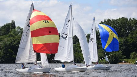 Yeoman boats with their colourful spinnakers, take part in the national championship races at the No