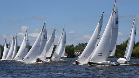 Yeoman boats at the start of one of the national championship races at the Norfolk Broads Yacht Club