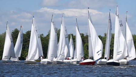Yeoman boats take part in the national championship races at the Norfolk Broads Yacht Club at Wroxha