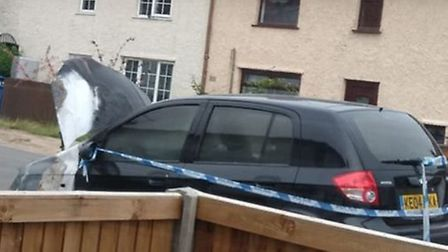 The car targeted by arsonists on Appleyard Crescent, Hellesdon. Photo: Submitted