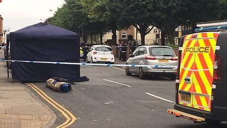 A police tent has been placed at the scene of an incident near King Street, Great Yarmouth. Picture: