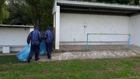 Teenagers who used spray paint to vandalise a dugout in Newton Flotman have agreed to clean it up. P
