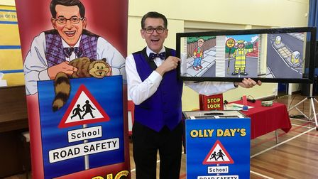 Master of road safety Olly Day prepares for another lesson on his Norfolk school rounds. Picture: Su