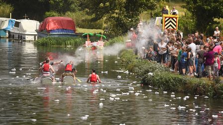 Competitors take part in the Hilgay Raft Race Picture: Ian Burt
