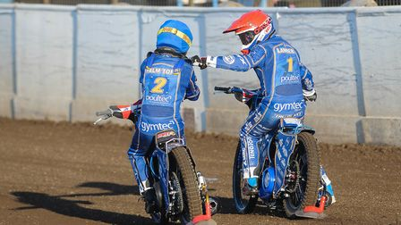 Robert Lambert and Michael Palm-Toft smashed a 5-1 in the first heat of the night. Picture: Ian Burt