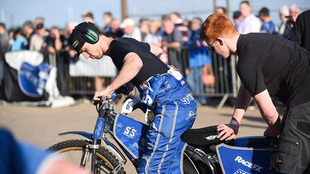 Ty Proctor getting one of his bikes ready for the meeting. Picture: Ian Burt