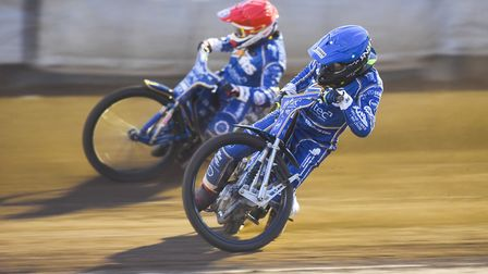 Robert Lambert and Craig Cook on a mission in heat 15. Picture: Ian Burt