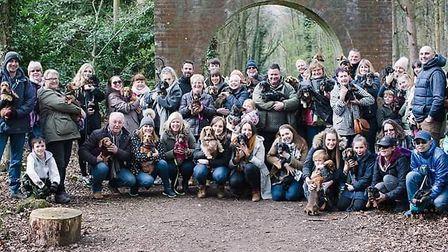 A meet-up of the Dachshund around Fakenham Facebook group Credit: Vicky Plum Photography