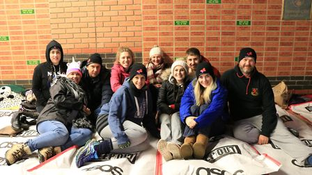 The team from Birketts LLP taking part in Norwich Sleep Out 2018. Picture: The Benjamin Foundation