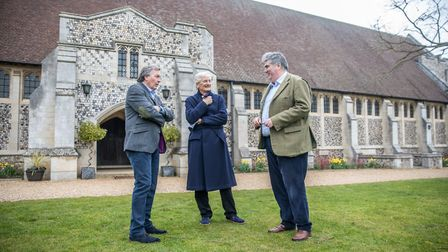 Sir James Dyson, centre, with Gresham's chair of governors Michael Goff, left, and headmaster Dougla