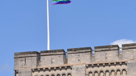 A rainbow flag flying above Norwich Castle. Picture: Nick Butcher