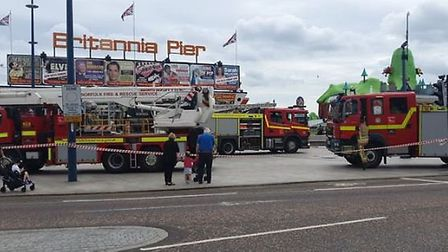 Firefighters are on scene for a fire at Britannia Pier, in Great Yarmouth. Picture: Aaron Sabin