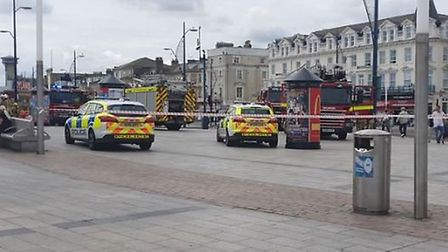 Firefighters were called to the pier following a fire. Picture: Aaron Sabin